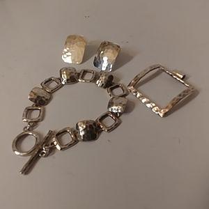 Set of 3 Earrings, Pendant & Bracelet 925 Silver